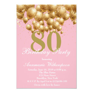 Elegant 80th Birthday Invitation Gold Confetti