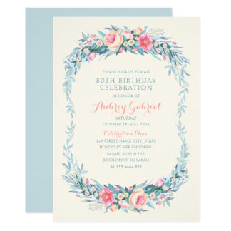 Elegant 80th Birthday Party Floral Watercolor Card