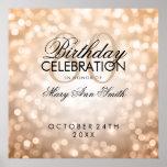 Elegant 80th Birthday Party Glitter Lights Copper Poster