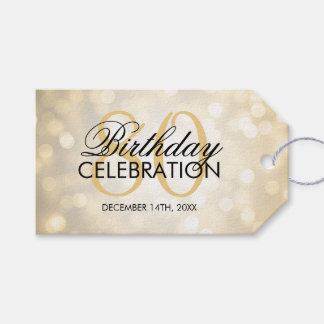 Elegant 80th Birthday Party Gold Glitter Lights Gift Tags