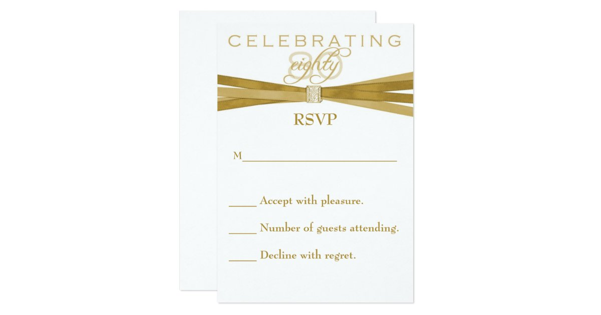 Elegant 80th birthday party invitations rsvp card zazzle for Define rsvp on invitations