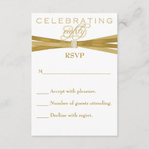 Elegant 80th Birthday Party Invitations RSVP Card