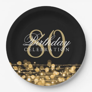 Elegant 80th Birthday Party Sparkles Gold 9 Inch Paper Plate