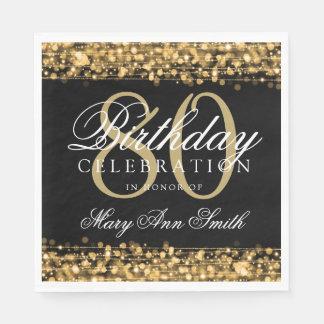 Elegant 80th Birthday Party Sparkles Gold Disposable Napkin
