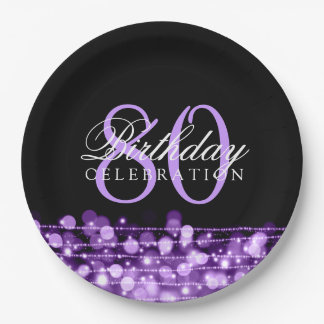 Elegant 80th Birthday Party Sparkles Purple 9 Inch Paper Plate