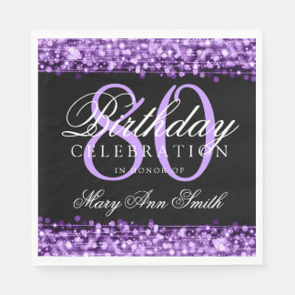 Elegant 80th Birthday Party Sparkles Purple Paper Napkins