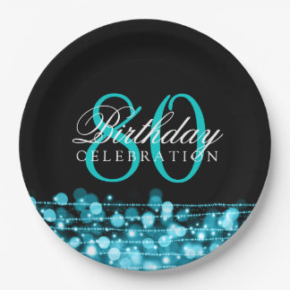 Elegant 80th Birthday Party Sparkles Turquoise 9 Inch Paper Plate