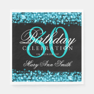 Elegant 80th Birthday Party Sparkles Turquoise Paper Napkins