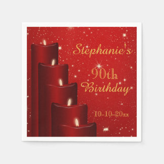 Elegant 90th Birthday Candles With Sparkle Paper Napkins
