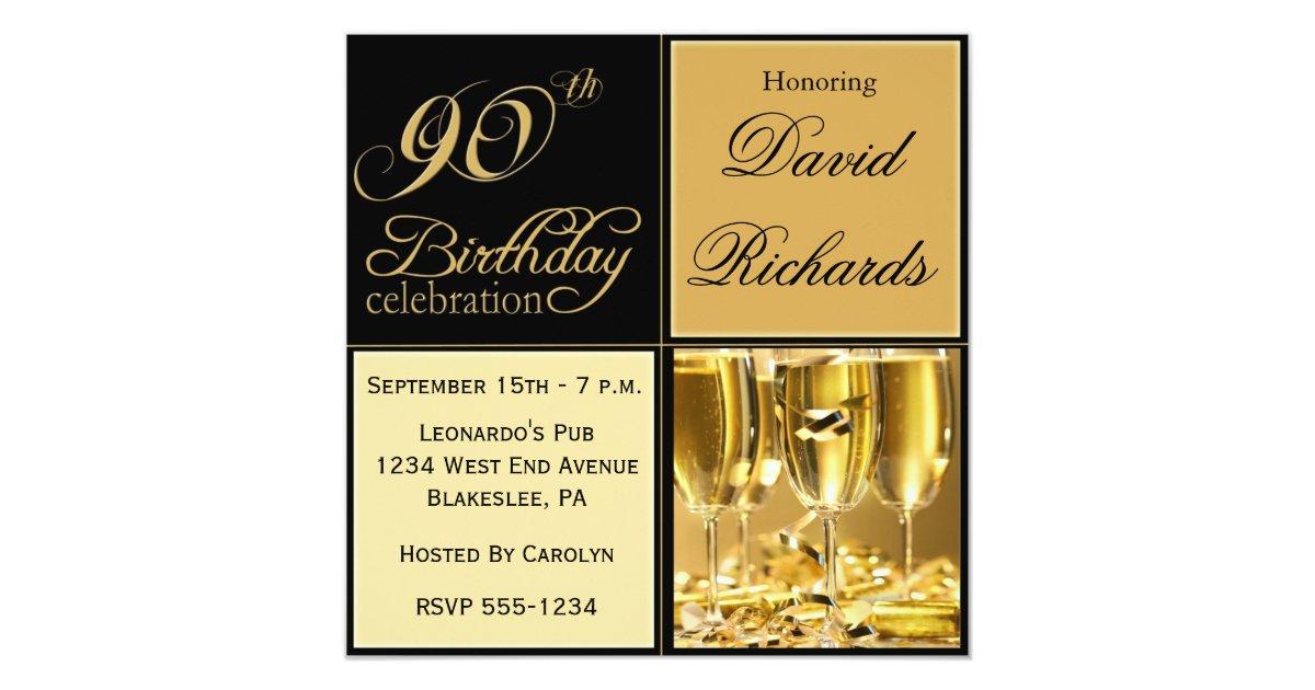 Elegant 90th Birthday Party Invitations Zazzle Ca