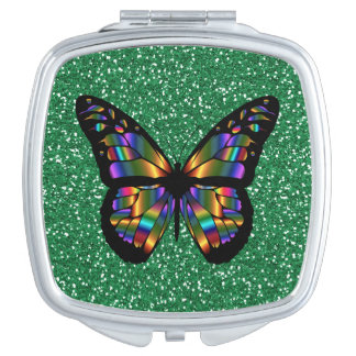 Elegant Abstract Butterfly On Green Glitter Design Travel Mirror