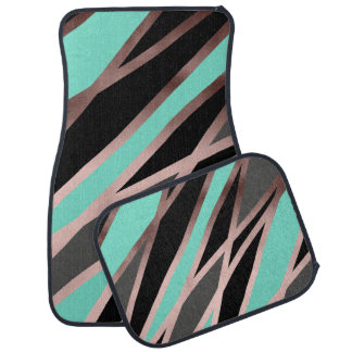 elegant abstract faux rose gold black grey mint car mat
