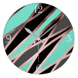 elegant abstract faux rose gold black grey mint large clock