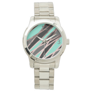 elegant abstract faux rose gold black grey mint watch