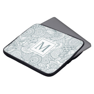 Elegant Abstract Floral Monogram | Laptop Sleeve