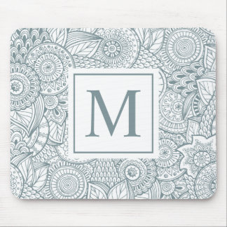Elegant Abstract Floral Monogram | Mousepad