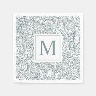 Elegant Abstract Floral Monogram   Napkin