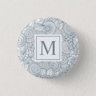 Elegant Abstract Floral Monogram Pin Button
