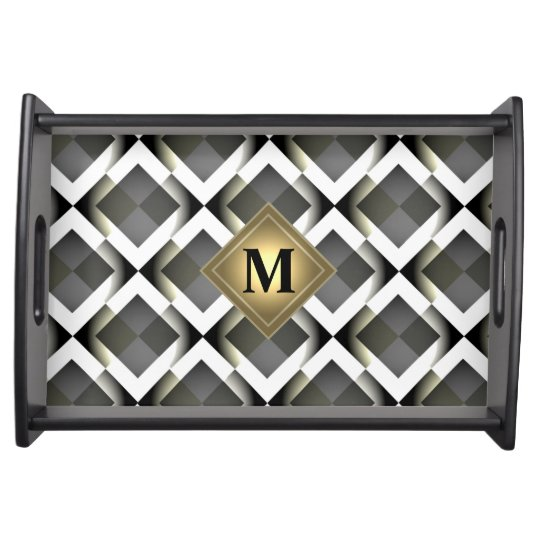 Elegant abstract geometric square pattern service trays