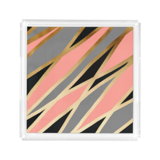 elegant abstract gold foil black grey coral pink acrylic tray