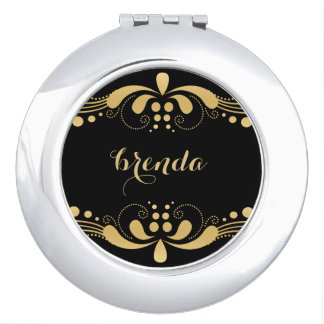 Elegant Abstract Gold Swirl On Black Background Compact Mirror