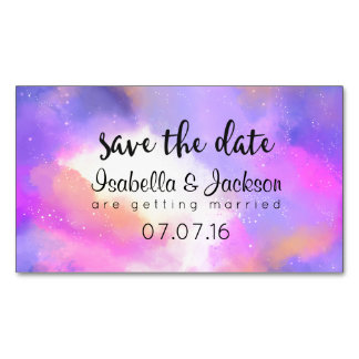 Elegant Abstract Pastel Watercolors Save The Date Business Card Magnet