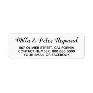 elegant address information black white return address label