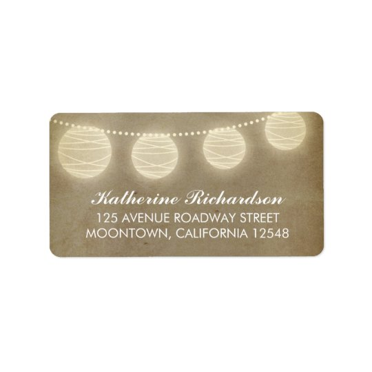 elegant address label with lanterns and lights