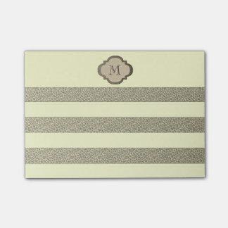 Elegant adorable cheerful leopard stripes monogram post-it® notes