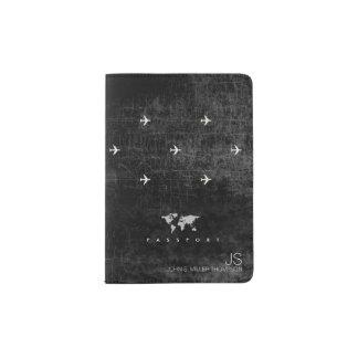 elegant aged look black travel passport holder