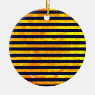 Elegant amber ant stripes pattern ceramic ornament