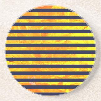 Elegant amber ant stripes pattern coaster