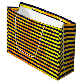Elegant amber ant stripes pattern large gift bag