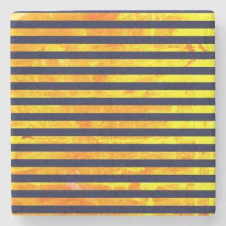 Elegant amber ant stripes pattern stone coaster