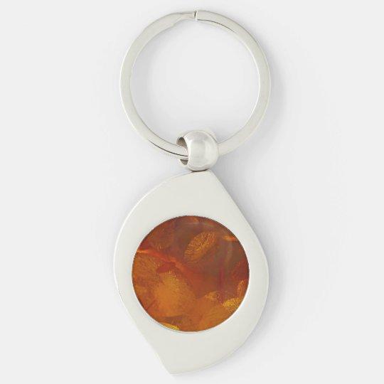 Elegant amber pattern Silver-Colored swirl keychain