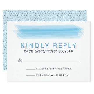 Elegant Ambiance Blue Watercolor RSVP Wedding Card