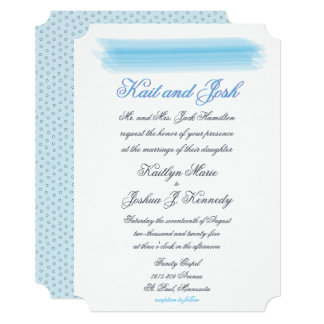 Elegant Ambiance Blue Watercolor Wedding Card