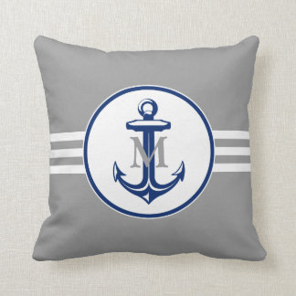 Elegant Anchor on Blue Monogrammed Pillow