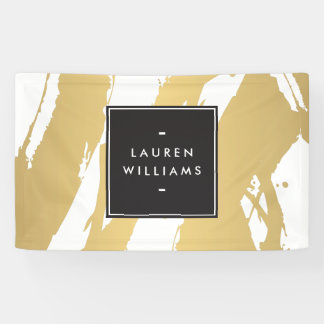 Elegant and Abstract Gold Brushstrokes Banner