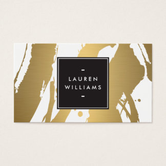 Elegant and Abstract Gold Brushstrokes II Business Card