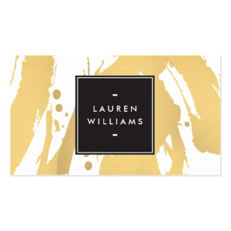 Elegant and Abstract Gold Brushstrokes Pack Of Standard Business Cards