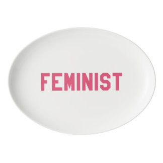 Elegant and Beautiful Typography || Feminist Porcelain Serving Platter