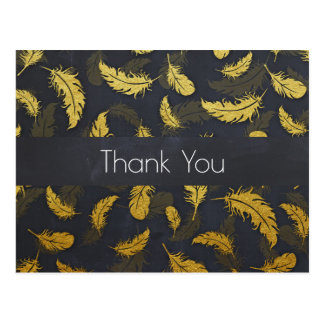 Elegant And Chic Black And Gold Feather Thank You Postcard