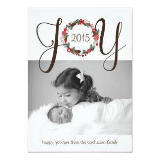 "Elegant and Classy Joy Wreath Photo Card Design 4.5"" X 6.25"" Invitation Card"
