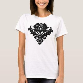 Elegant and classy victorian damask motif in black T-Shirt