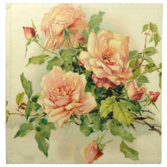 Elegant and decorative pastel coloured roses printed napkin