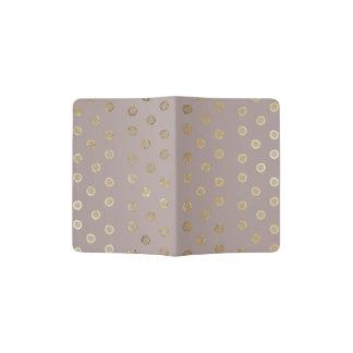 Elegant and Girly Faux Gold Glitter Dots Beige Passport Holder
