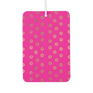 Elegant and Girly Faux Gold Glitter Dots Hot Pink Air Freshener