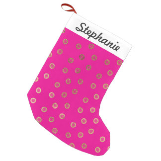 Elegant and Girly Faux Gold Glitter Dots Hot Pink Small Christmas Stocking