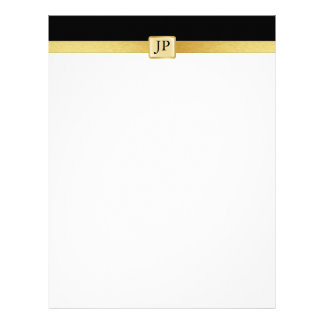 Elegant and Modern black and Gold with Initials Custom Letterhead